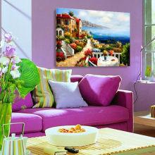 Mediterrâneo, vista, original, paisagem, óleo, quadro, lona