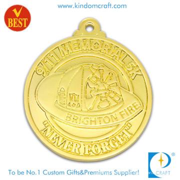 China Medalla modificada para requisitos particulares del recuerdo de la galjanoplastia del oro 3D del precio de fábrica con la aleación Satmping