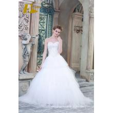 ED Bridal New Product Sweetheart Strapless sem mangas Lace-up A-line Vestidos de casamento com contas Appliqued 2017
