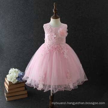 Baby 2018 new model cotton frock designs summer princess sleeveless Big hand made flower pink girls birthday party dress Baby 2018 new model cotton frock designs summer princess sleeveless Big hand made flower pink girls birthday party dress