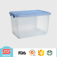 shunxing PP plastic 50L movable stackable storage box with wheels