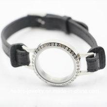 Personalizado em aço inoxidável moda pulseira de couro jóias