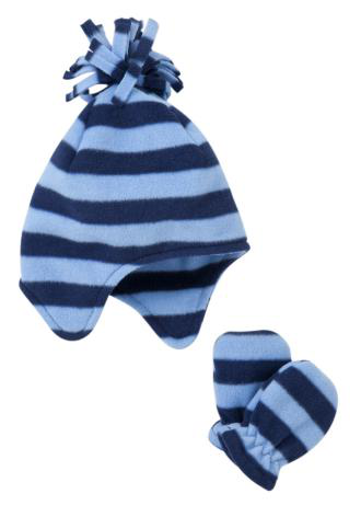 Kids fleece trapper hat+mitten set