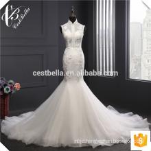 Sexy Mermaid Wedding Gown with Big Long Train Vestido De Novia Vintage Floral White Beach Wedding Dress Bridal Gown