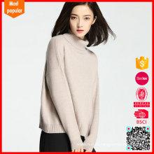 2017 nuevas mujeres del suéter de la cachemira del cuello alto 100% de la llegada