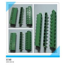 3.5mm Winkel 10 Pin / Weg Grün Steckbare Art Schraubklemmenblock Stecker
