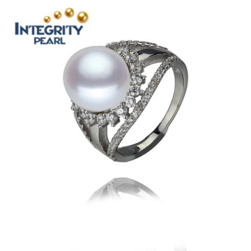 11.5-12mm AAA Serling Silver White Flower Shape Button Freshwater Pearl Ring
