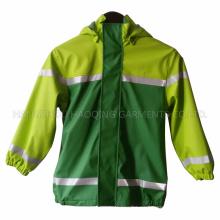 Impermeable reflectante verde PU para niños