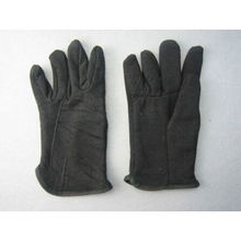 Black Jersey Cotton Fleecy Lined Winter Glove-2107