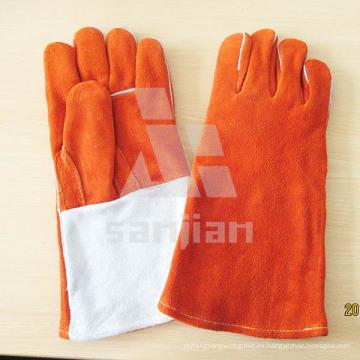 """Guante de seguridad para soldar de cuero dividido de 13 """"naranja ab / bc con CE"""