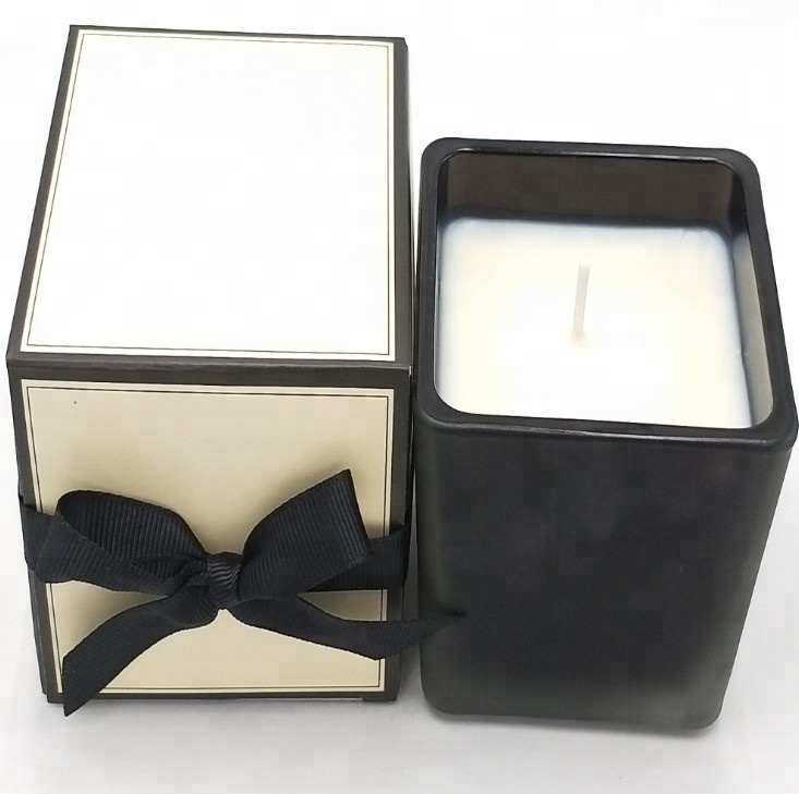 Natural Soy Wax Scented Black Square Glass
