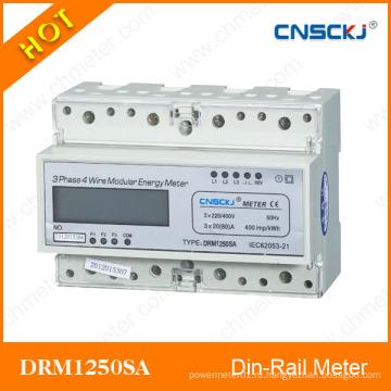 ЖК-дисплей DIN-рейка Трехфазный измеритель Kwh