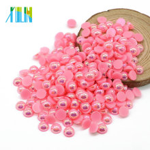 Top Venda Domed Acrílico Beads Flat Back Pearls e Strass para Nail Art, A13-Dark Pink AB