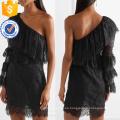 Vestido de algodón con cuello en V manga corta con volantes negros, mangas largas, fabricación de prendas de vestir al por mayor (TA0311D)