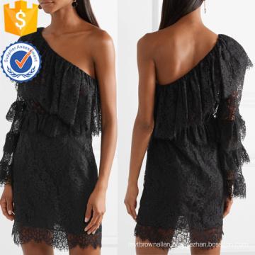 Black Ruffled One-Shoulder Long Sleeve Lace Cotton Mini Dress Manufacture Wholesale Fashion Women Apparel (TA0311D)