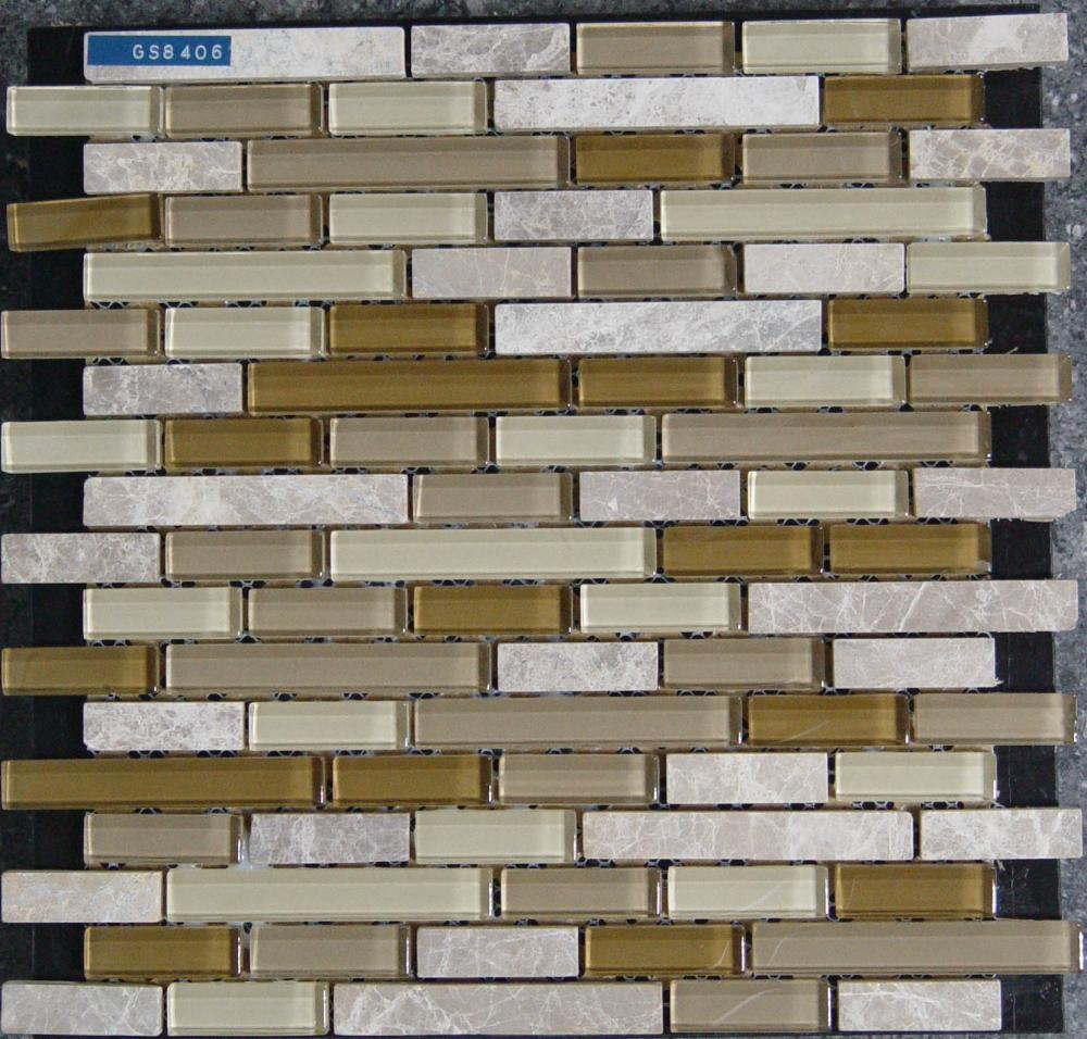 Beige Glass Stone Mixed Mosaic Tile