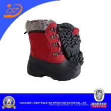 Moda botas para la nieve de invierno impermeable tela cuadros TPR superior para niños