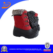 Fashion Plaid Cloth Upper TPR Waterproof Winter Snow Boots for Kids