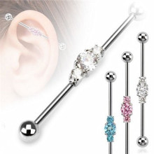 Surgical Steel Three Linked CZ Industrial Barbell