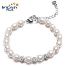 Pulsera de perlas de agua dulce de moda AAA 7-8mm gota de agua perla pulsera para las mujeres