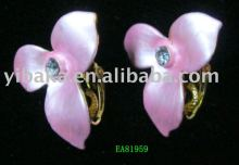 cheap wedding jewelry stud pink flower earrings alloy crystal earring factory