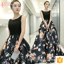 Guangzhou 2017 Luxury Women Long Black Girls Party Dresses Chiffon Maxi Dresses