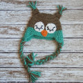 Sleepy owl crochet cotton hat for baby