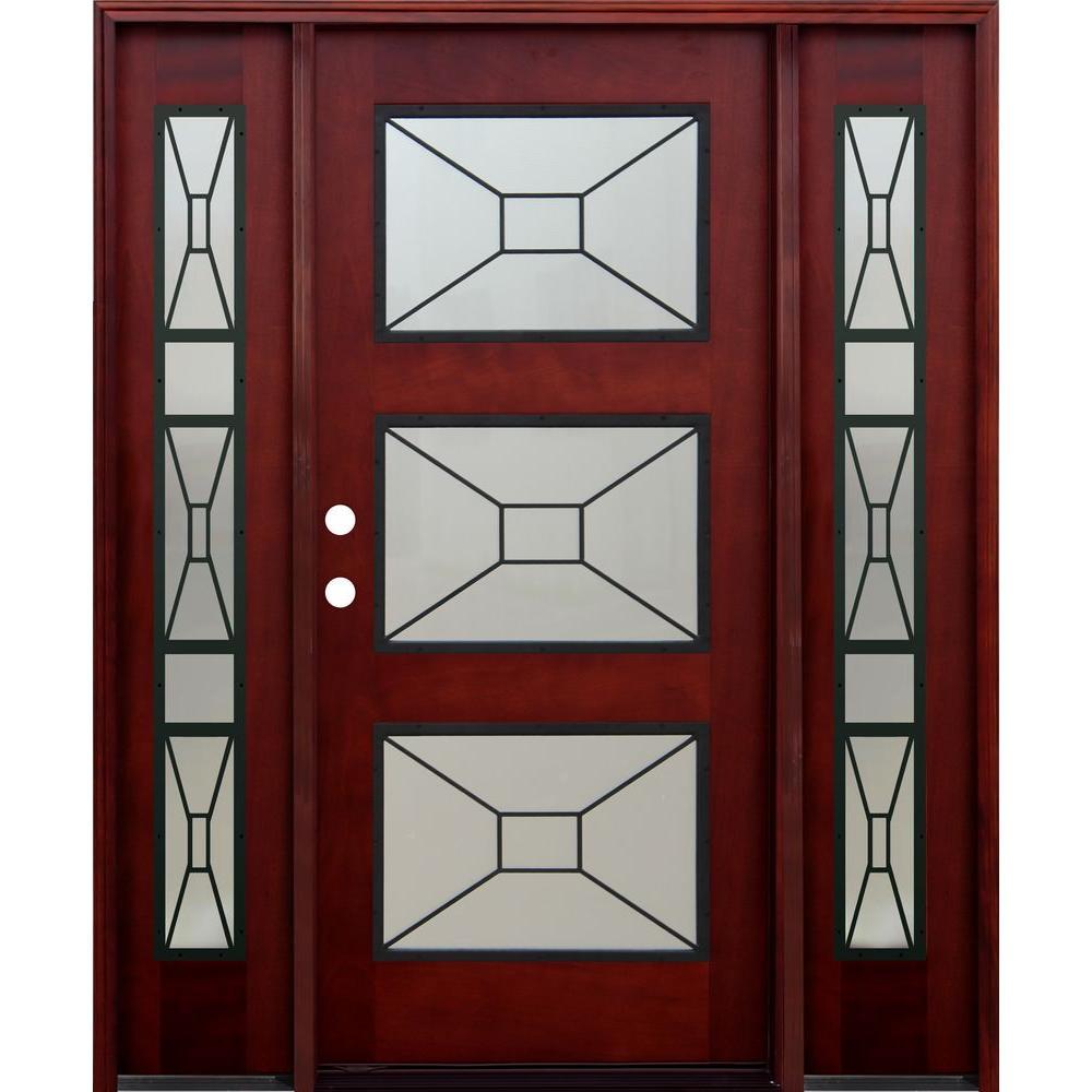 China 3 lite mahogany wood prehung front door manufacturers for Exterior door manufacturers