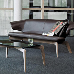 Contemporary Upholstered Bench Fabric Leather Loveseat Sofa
