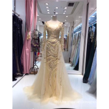 2017 New Graceful Long Sleeve Arabian Style Long Beaded Evening Dresses sequins