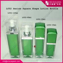 SYSRS Vente en gros Vazi Green Square Face Cream Bouteille acrylique Emballage cosmétique de luxe