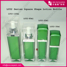 SYSRS Wholesale Empty Green Square Face Cream Acrylic Bottle Luxury Cosmetic Packaging