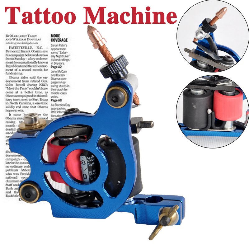 blue tattoo machine gun