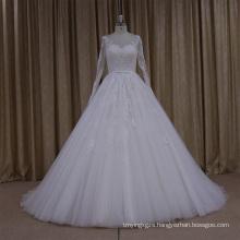 Long Sleeve Lace Applique Muslim Wedding Dress with Belt