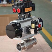 válvula de bola sanitaria recta de 2 vías con actuador neumático