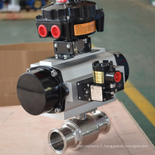 Robinet à boisseau sphérique 2 voies droit avec actionneur pneumatique