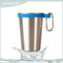 High quality empty stainless steel beer mug with easy carry handle