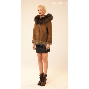 짧은 리브 슬리브 Kopenhagen Mink Hooded Jacket