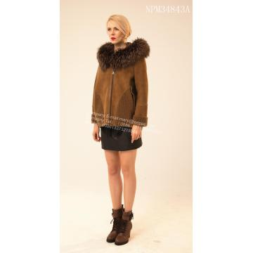 Pendek Rib Sleeve Copenhagen Mink Jacket Hooded