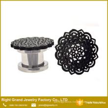 316L Surgical Steel Black Plated Mandala Top Screw Ear Plugs Gauges