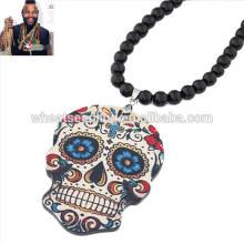 Мультфильм акриловые черные бусы черепа свитер цепи моды из бисера ожерелье