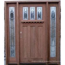 Portas de madeira exteriores da madeira maciça do vidro geado da porta do Dutch da noz