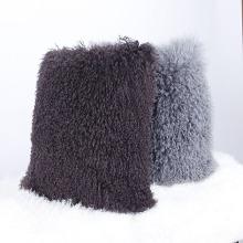 2018 Gros mongol agneau fourrure délicate peau de mouton housse de coussin