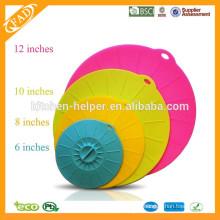 Couvercle antiadhésive en silicone anti-ventouse en silicone / couvercle en pot en silicone et couvercle en pot de silicone