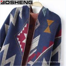 Señora invierno cálido irregular patrón de bufanda tejida chales