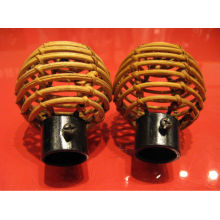 Ручная работа Nicely Curly Reed Rattan Curtain Rod End Finial