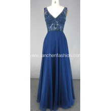 Navy Blue Beading Bridesmaid Evening Dress