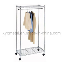 Heavy Duty Chrome Wire Shvelving Movable Supreme Garment Clothes Rack