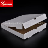 Paper white pizza box inside kraft with lock