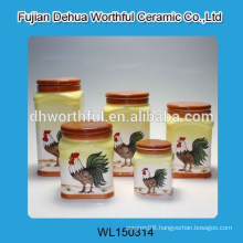 High quality ceramic sugar canister with cock figurine